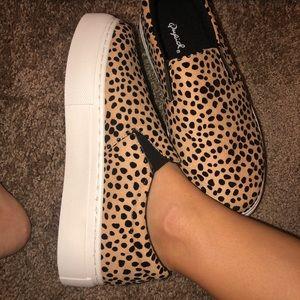Qupid Shoes - Leopard Print Platform Slip-ons